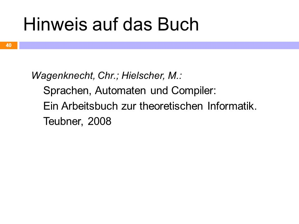 Hinweis auf das Buch Sprachen, Automaten und Compiler: