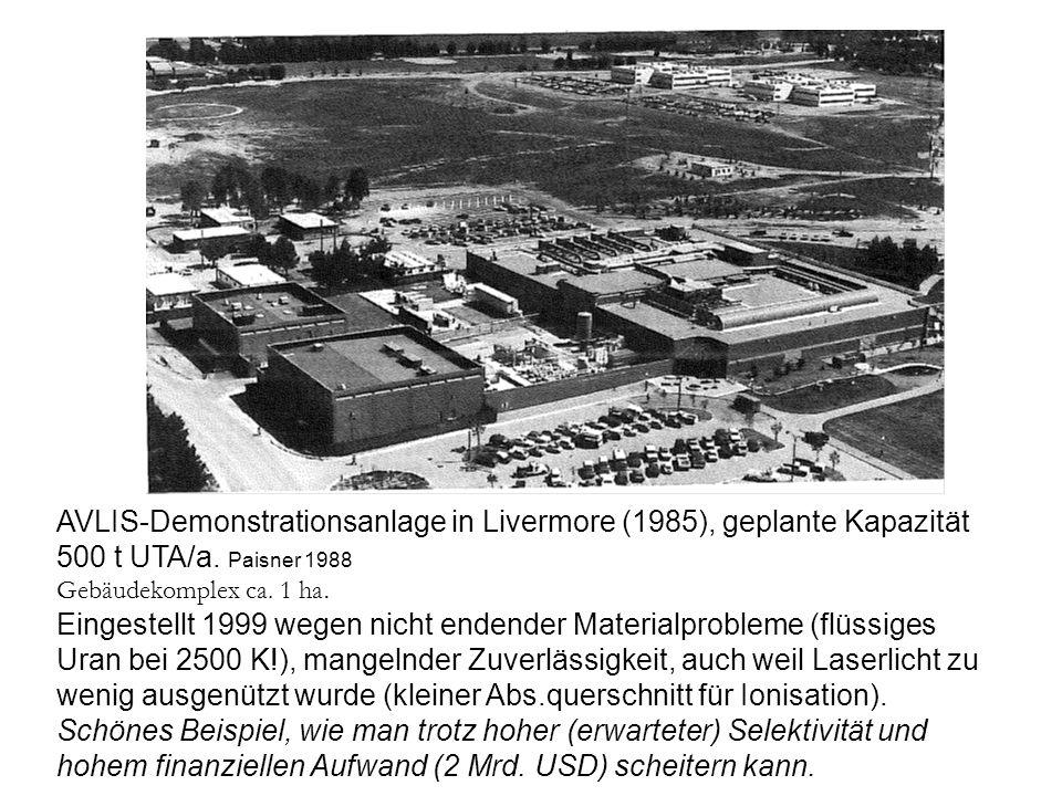 AVLIS-Demonstrationsanlage in Livermore (1985), geplante Kapazität 500 t UTA/a. Paisner 1988