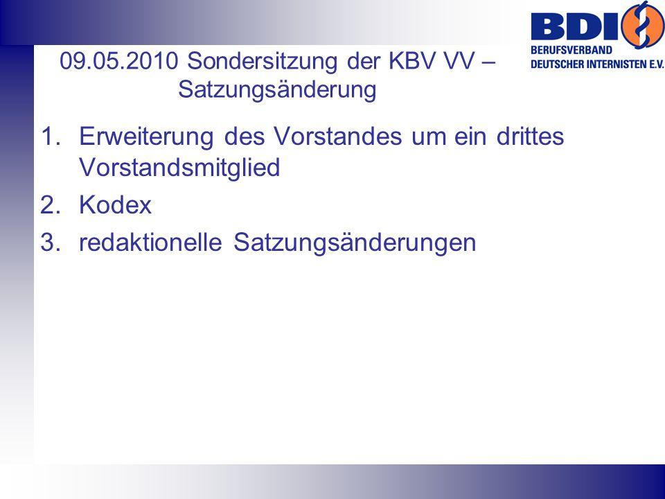 09.05.2010 Sondersitzung der KBV VV – Satzungsänderung