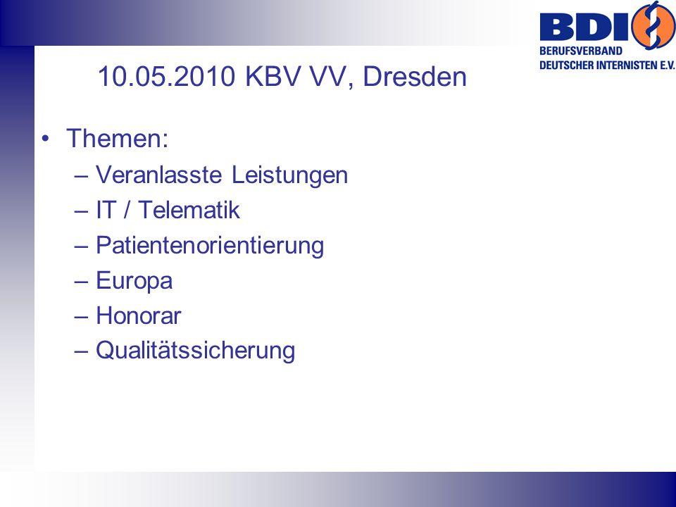 10.05.2010 KBV VV, Dresden Themen: Veranlasste Leistungen
