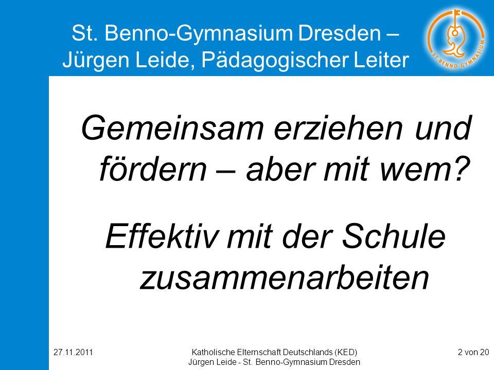 St. Benno-Gymnasium Dresden – Jürgen Leide, Pädagogischer Leiter
