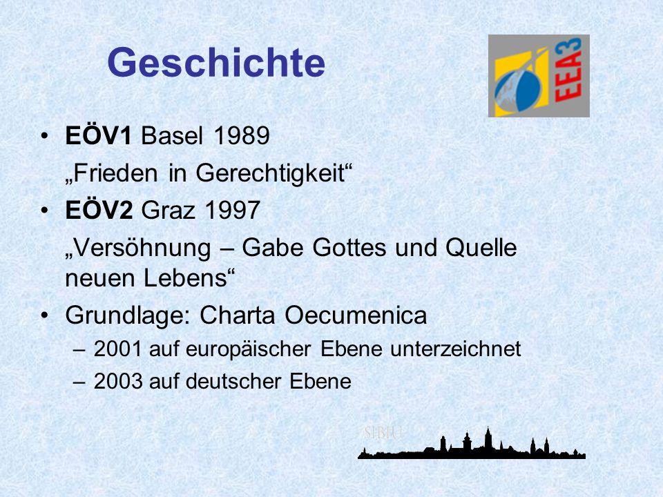"""Geschichte EÖV1 Basel 1989 """"Frieden in Gerechtigkeit EÖV2 Graz 1997"""