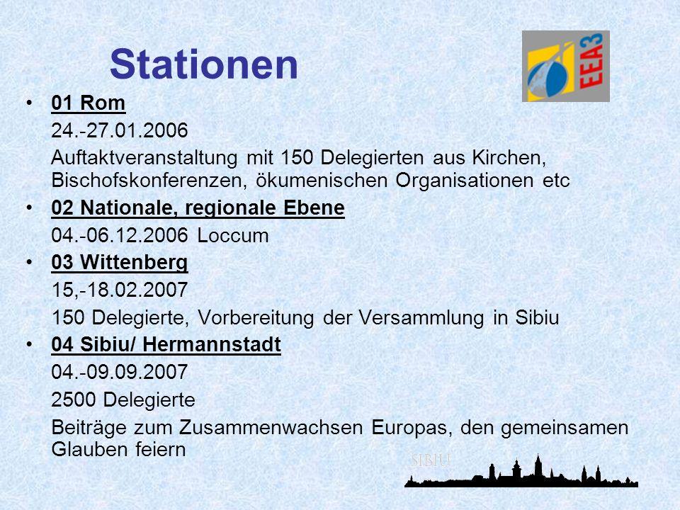 Stationen 01 Rom. 24.-27.01.2006. Auftaktveranstaltung mit 150 Delegierten aus Kirchen, Bischofskonferenzen, ökumenischen Organisationen etc.