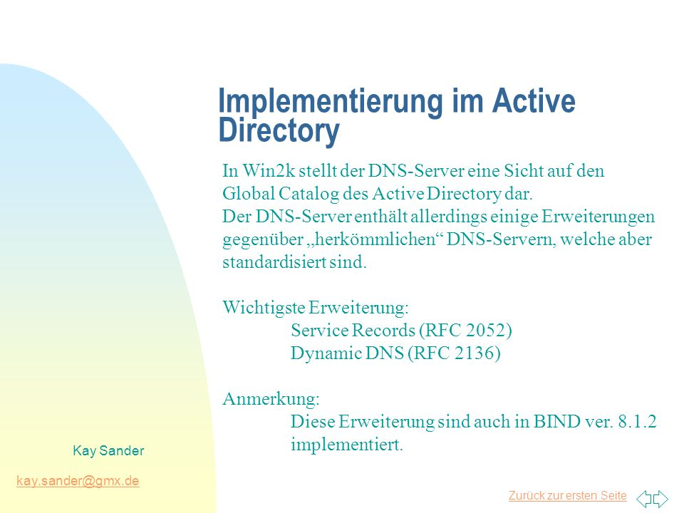 Implementierung im Active Directory