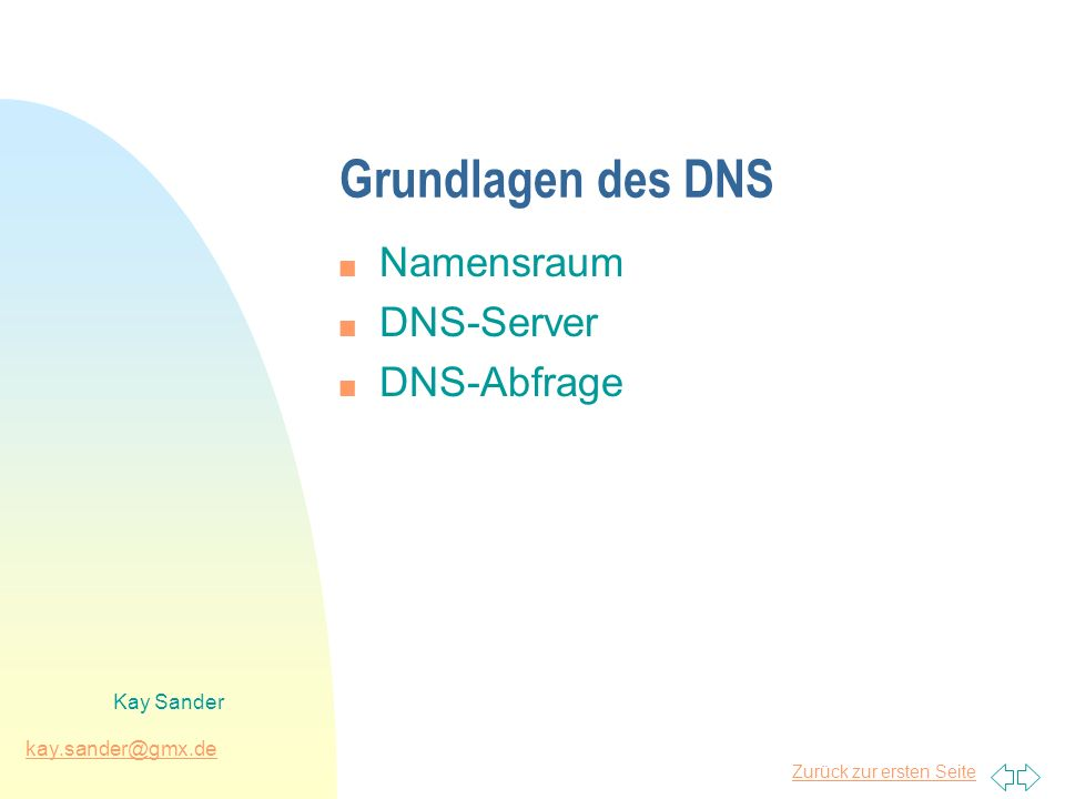 Grundlagen des DNS Namensraum DNS-Server DNS-Abfrage Kay Sander
