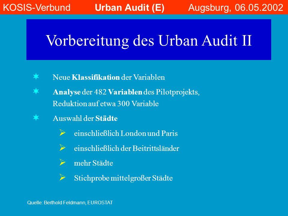Vorbereitung des Urban Audit II