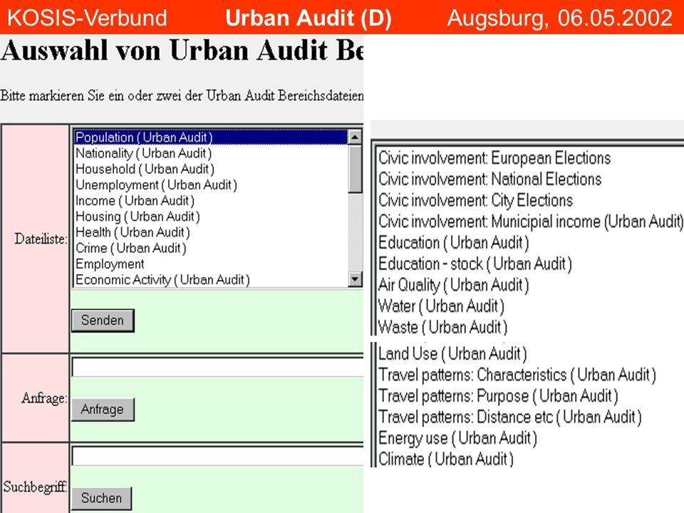 KOSIS-Verbund Urban Audit (D) Augsburg, 06.05.2002