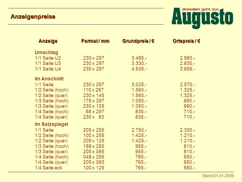Anzeigenpreise Anzeige Format / mm Grundpreis / € Ortspreis / €