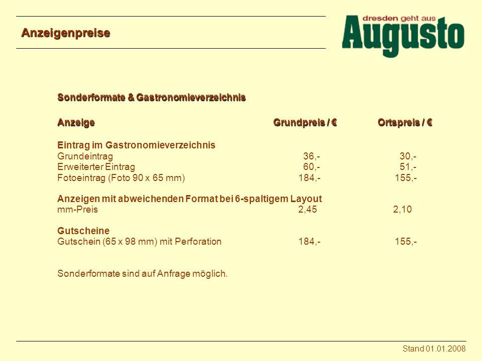 Anzeigenpreise Sonderformate & Gastronomieverzeichnis