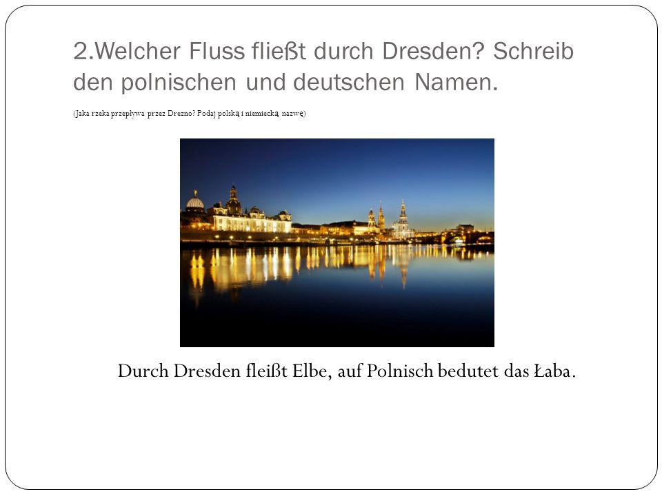 Durch Dresden fleißt Elbe, auf Polnisch bedutet das Łaba.