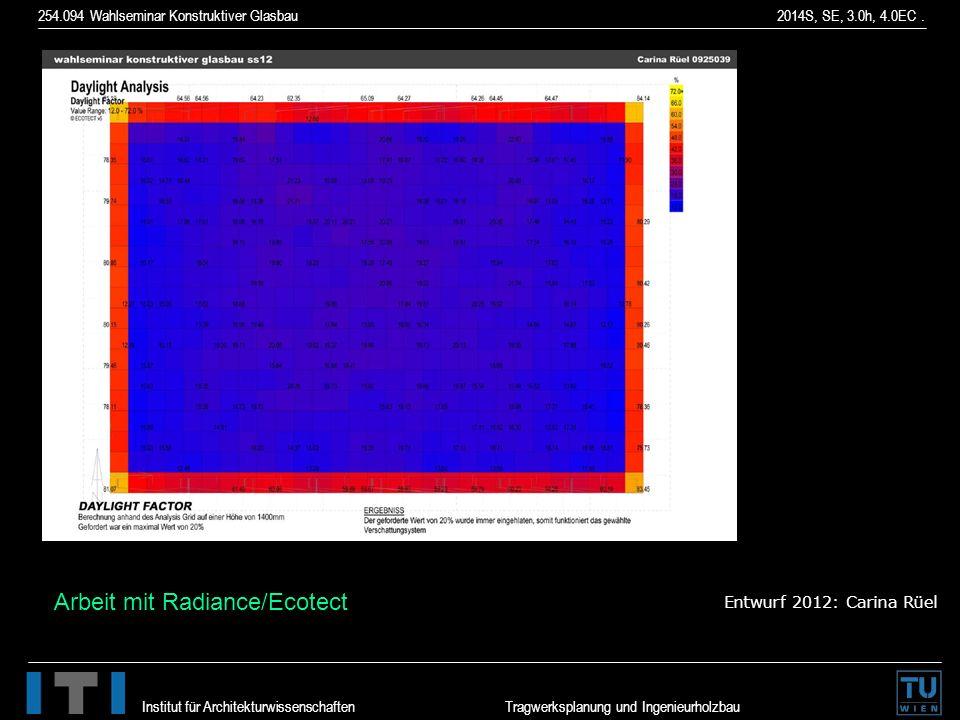 Arbeit mit Radiance/Ecotect