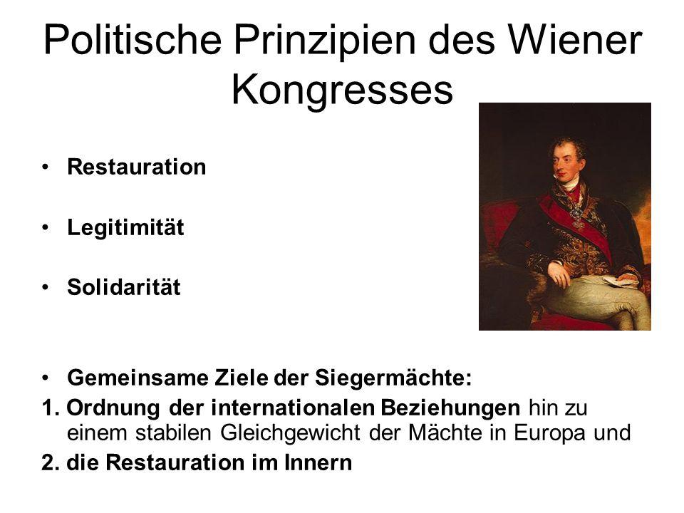 Politische Prinzipien des Wiener Kongresses