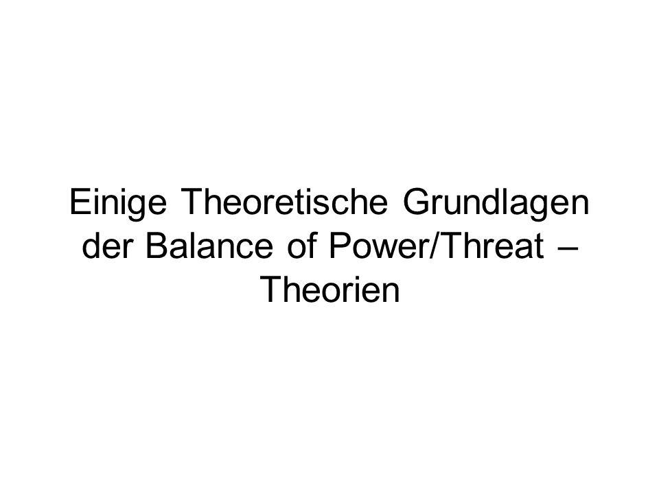 Einige Theoretische Grundlagen der Balance of Power/Threat –Theorien