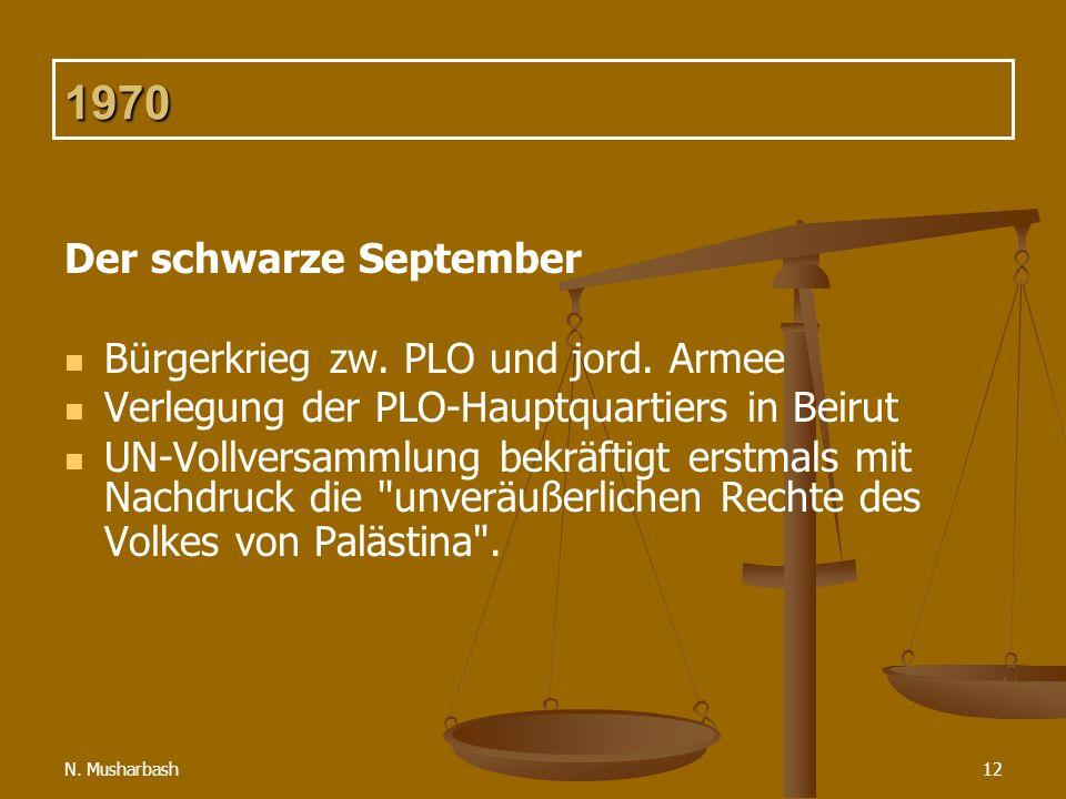 1970 Der schwarze September Bürgerkrieg zw. PLO und jord. Armee