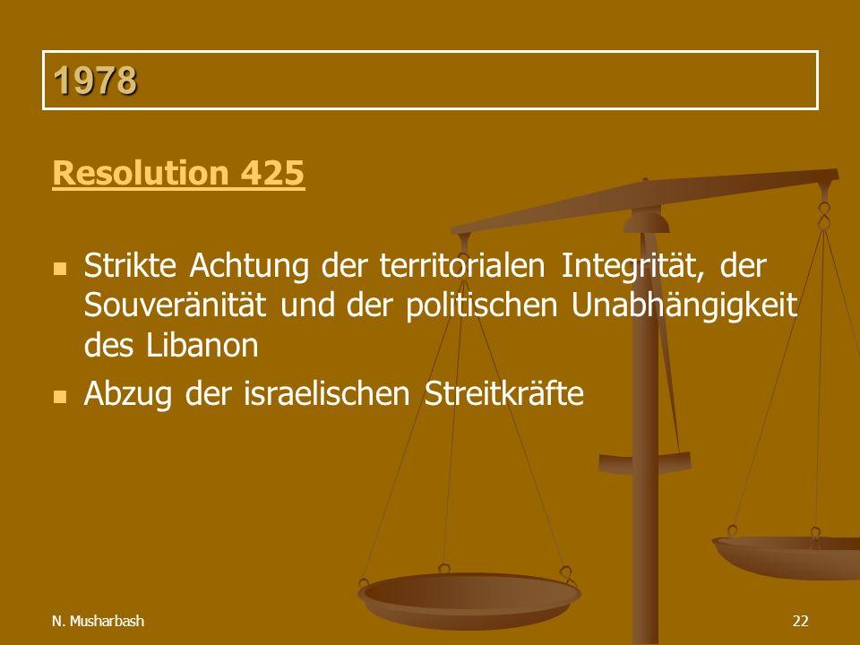 1978 Resolution 425. Strikte Achtung der territorialen Integrität, der Souveränität und der politischen Unabhängigkeit des Libanon.