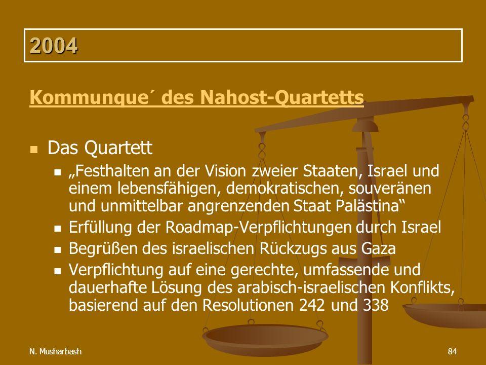 2004 Kommunque´ des Nahost-Quartetts Das Quartett