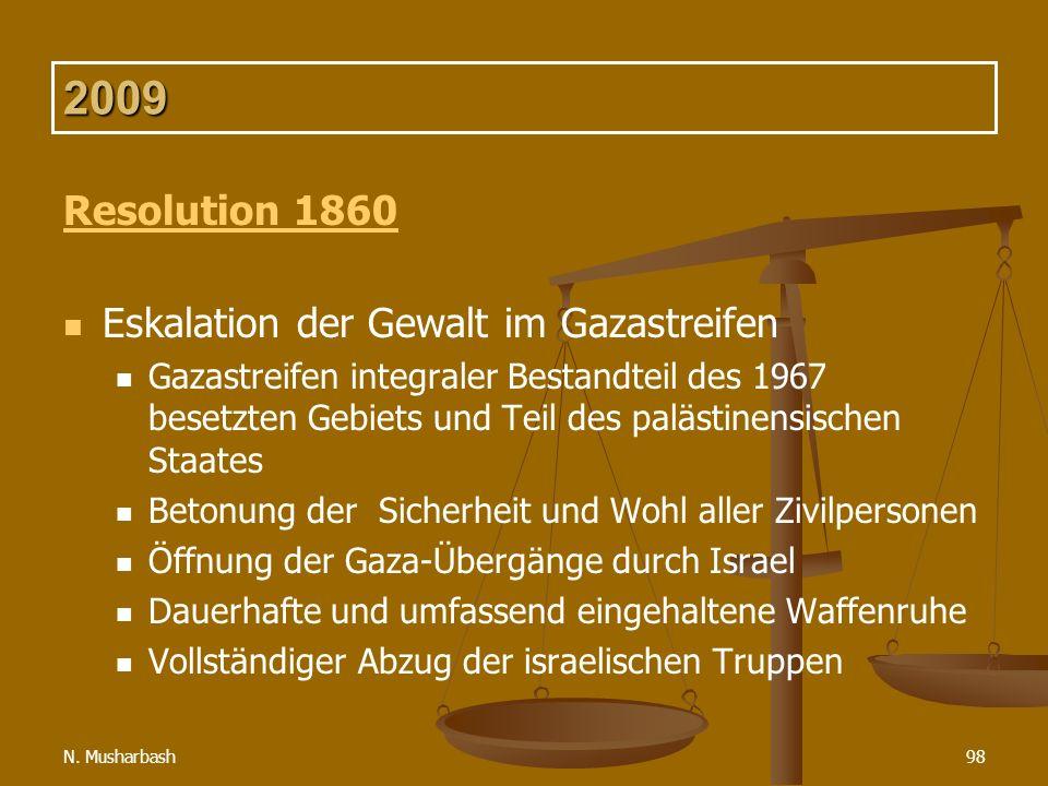 2009 Resolution 1860 Eskalation der Gewalt im Gazastreifen