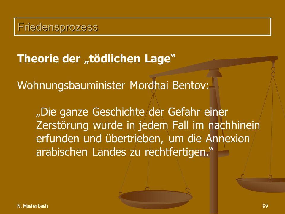 """Theorie der """"tödlichen Lage Wohnungsbauminister Mordhai Bentov:"""