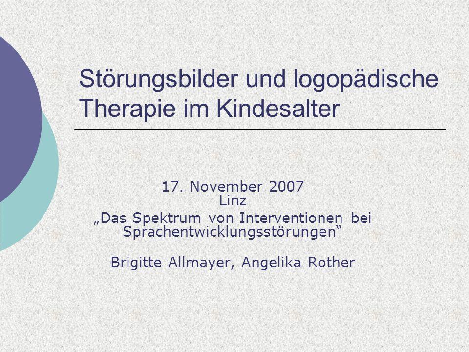 Störungsbilder und logopädische Therapie im Kindesalter