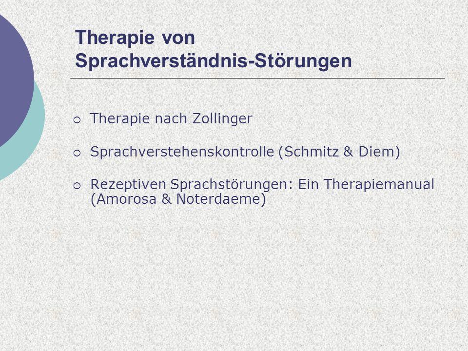 Therapie von Sprachverständnis-Störungen