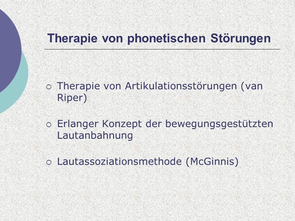 Therapie von phonetischen Störungen
