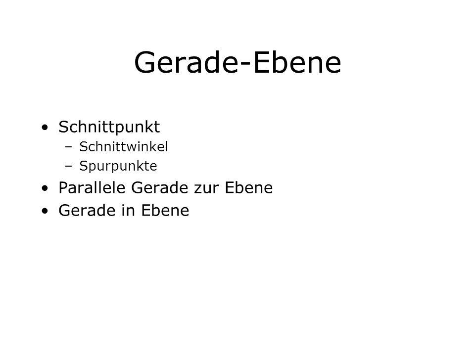 Gerade-Ebene Schnittpunkt Parallele Gerade zur Ebene Gerade in Ebene