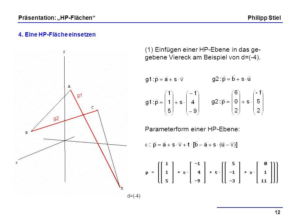Parameterform einer HP-Ebene: