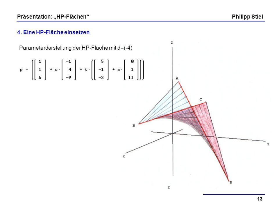 Parameterdarstellung der HP-Fläche mit d=(-4)