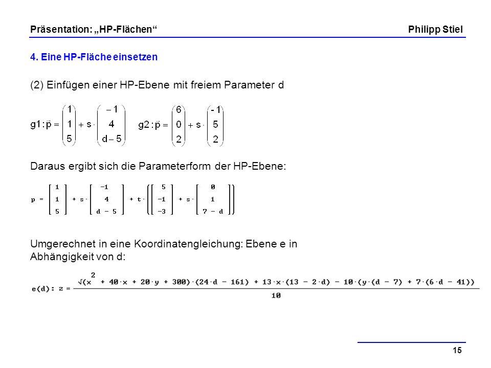(2) Einfügen einer HP-Ebene mit freiem Parameter d