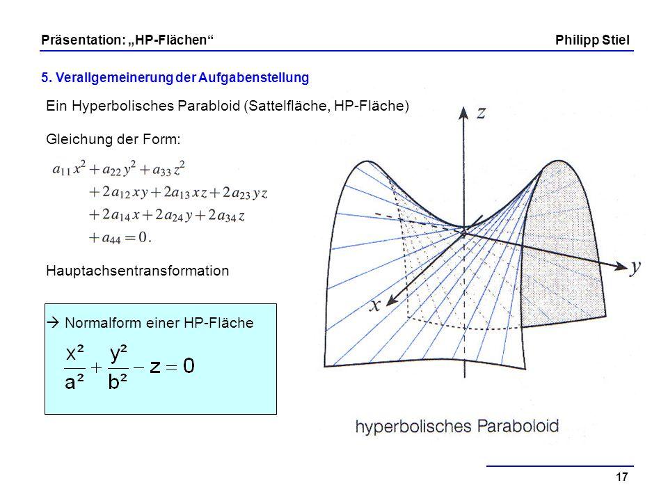 Ein Hyperbolisches Parabloid (Sattelfläche, HP-Fläche)