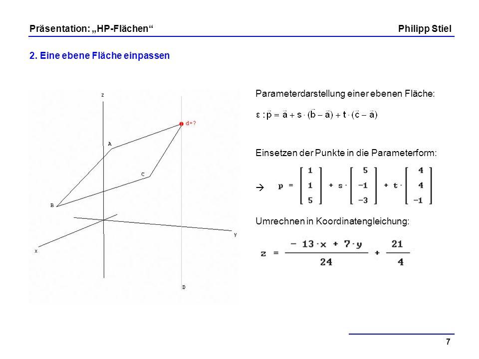 Parameterdarstellung einer ebenen Fläche: