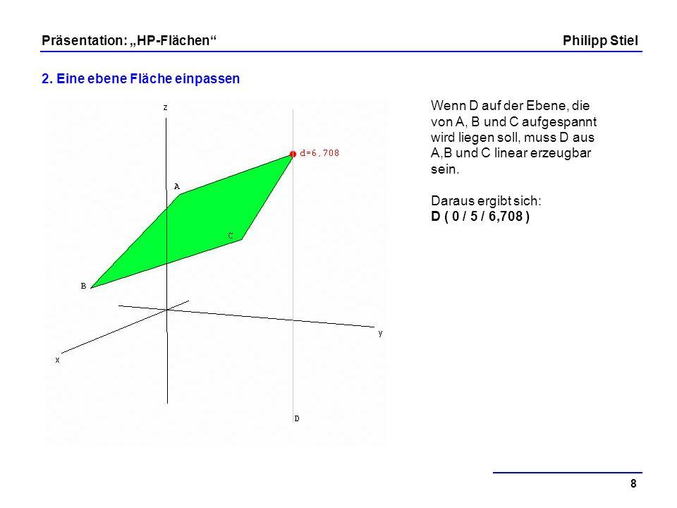 Wenn D auf der Ebene, die von A, B und C aufgespannt wird liegen soll, muss D aus A,B und C linear erzeugbar sein.