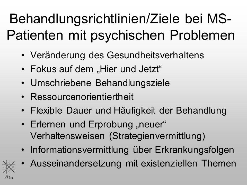 Behandlungsrichtlinien/Ziele bei MS-Patienten mit psychischen Problemen