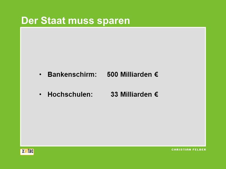 Der Staat muss sparen Bankenschirm: 500 Milliarden €