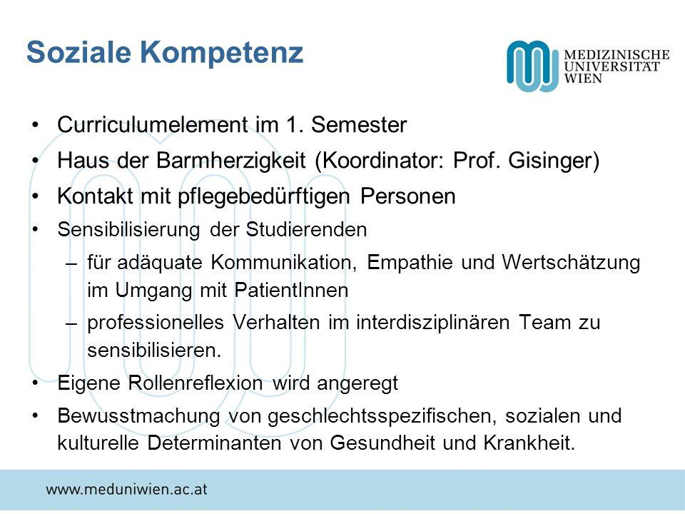 Soziale Kompetenz Curriculumelement im 1. Semester