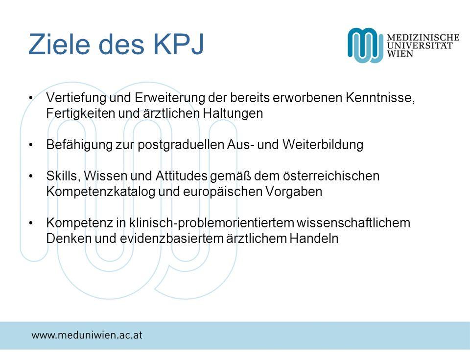Ziele des KPJ Vertiefung und Erweiterung der bereits erworbenen Kenntnisse, Fertigkeiten und ärztlichen Haltungen.