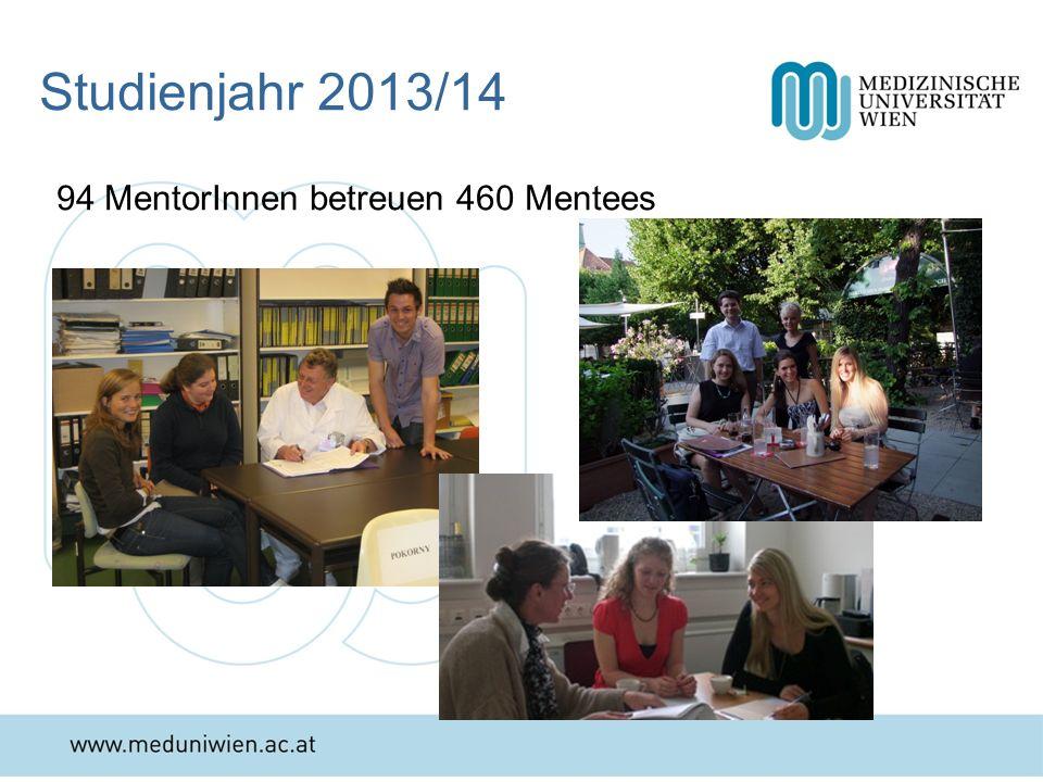 Studienjahr 2013/14 94 MentorInnen betreuen 460 Mentees