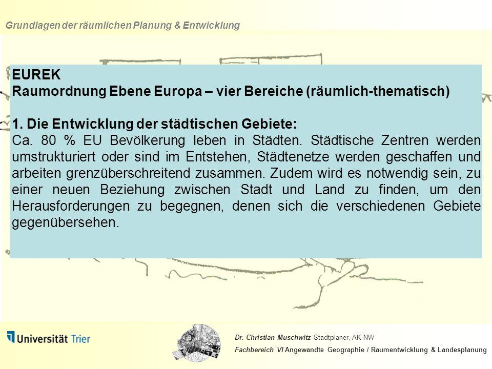 EUREK Raumordnung Ebene Europa – vier Bereiche (räumlich-thematisch) 1. Die Entwicklung der städtischen Gebiete: