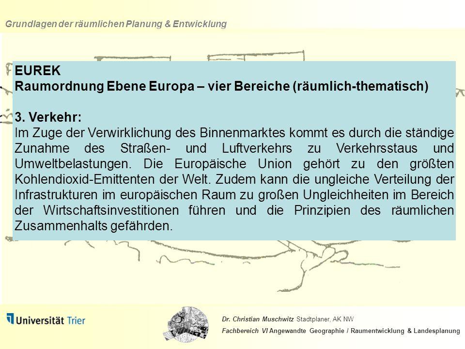 EUREK Raumordnung Ebene Europa – vier Bereiche (räumlich-thematisch) 3. Verkehr: