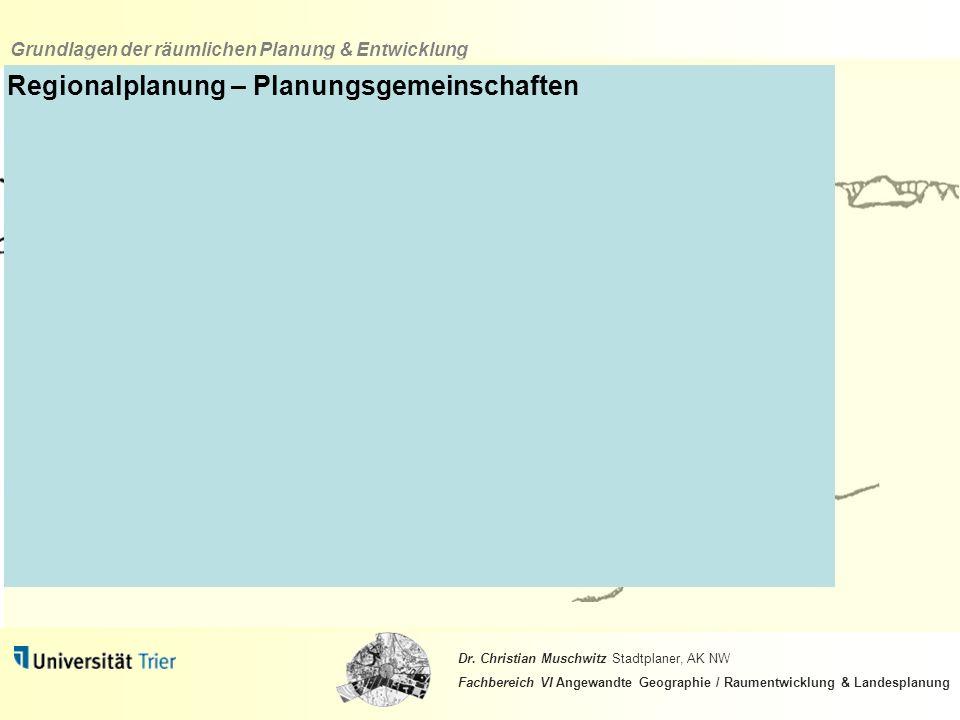 Regionalplanung – Planungsgemeinschaften