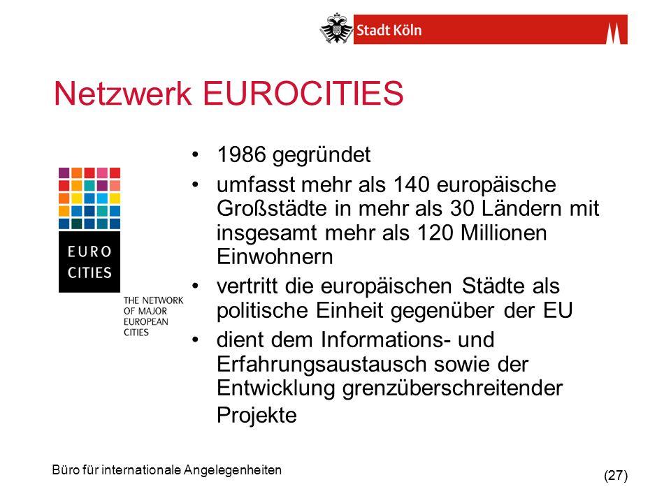 Netzwerk EUROCITIES 1986 gegründet