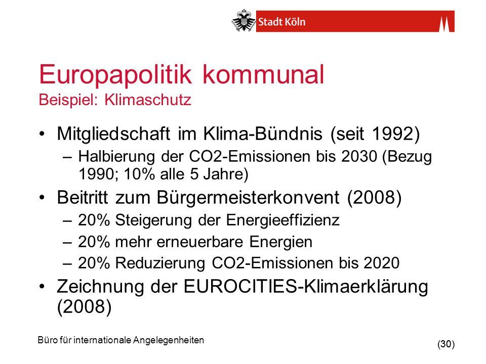 Europapolitik kommunal Beispiel: Klimaschutz