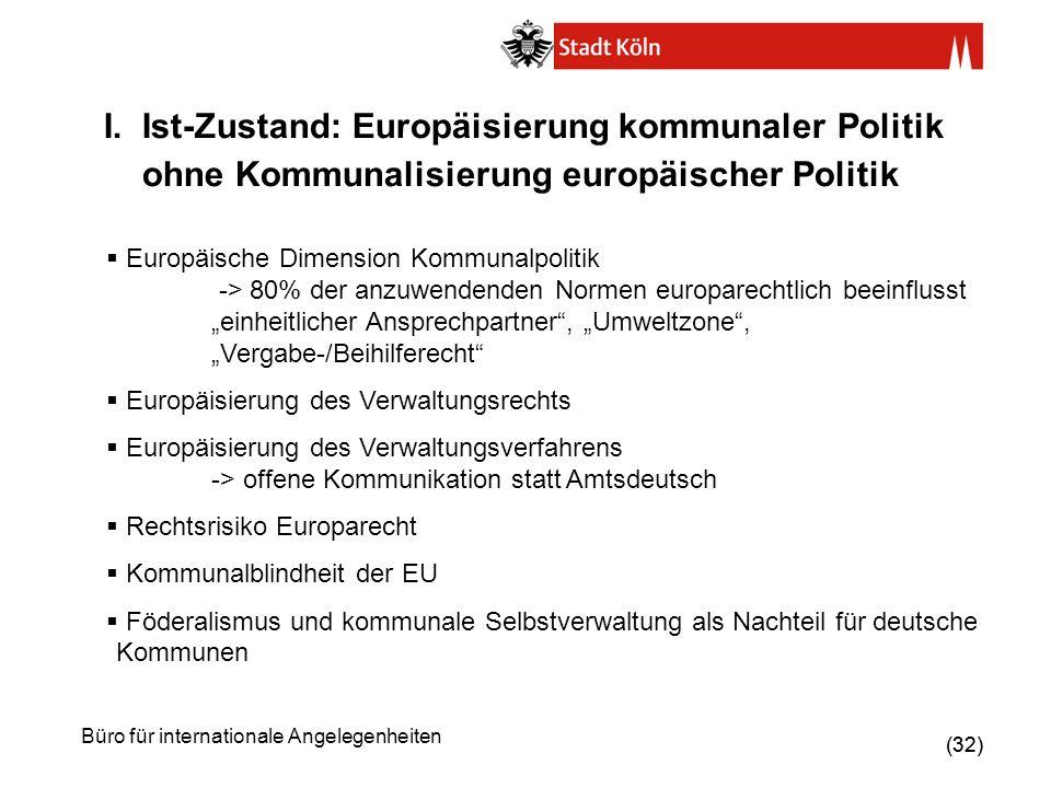 I. Ist-Zustand: Europäisierung kommunaler Politik
