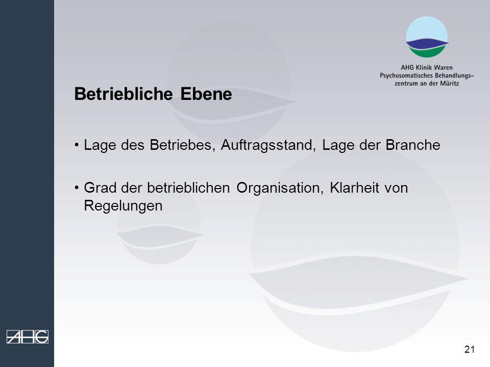 Betriebliche Ebene Lage des Betriebes, Auftragsstand, Lage der Branche