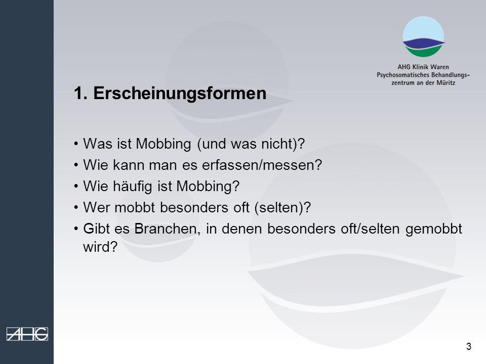 1. Erscheinungsformen Was ist Mobbing (und was nicht)