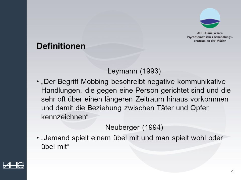 Definitionen Leymann (1993)