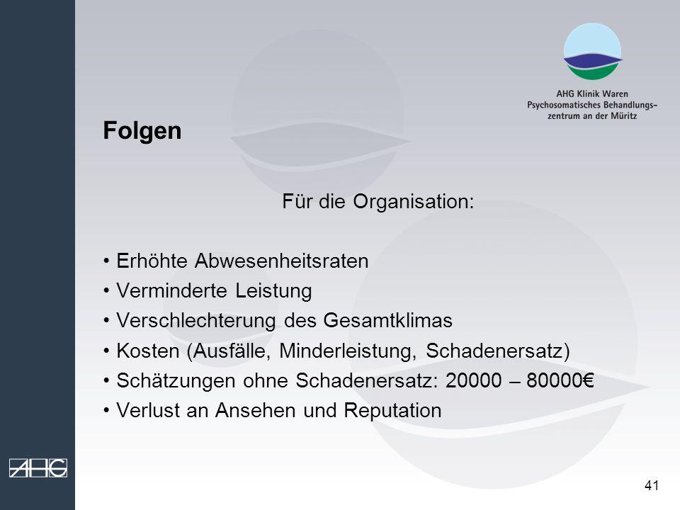 Folgen Für die Organisation: Erhöhte Abwesenheitsraten