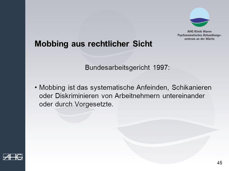 Mobbing aus rechtlicher Sicht