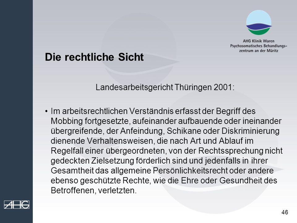 Landesarbeitsgericht Thüringen 2001: