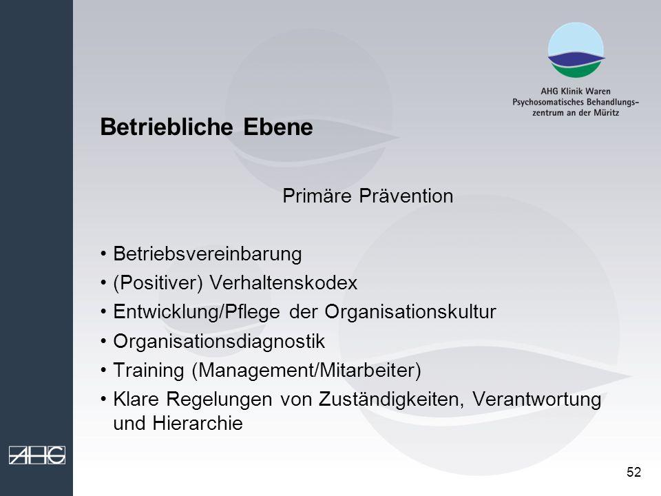 Betriebliche Ebene Primäre Prävention Betriebsvereinbarung